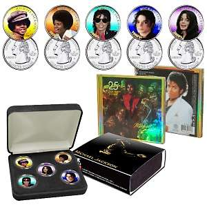 Michael Jackson 5 piece Colorized Coin Set and 25th Anniversary