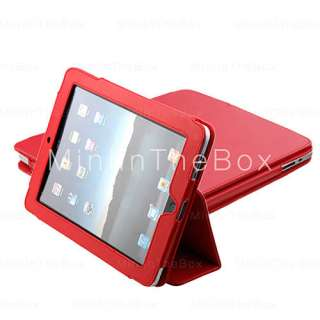 US$ 9.99   Protective PU Hard Leather Case + Stand for Apple iPad (Red