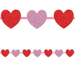 Halloween Costumes 12 Red and Pink Hearts Ribbon Garland
