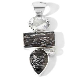 CL by Design Durango Jasper and Clear Quartz Sterling Silver Pendant