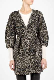 MW Matthew Williamson  Leopard Bubble Sleeve Belted Coat by MW
