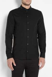 McQueen  Black Safety Pin Collar Slim Shirt by McQ Alexander McQueen