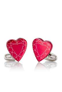 Paul Smith Accessories  Red Anodised Gem Heart Cufflinks by Paul