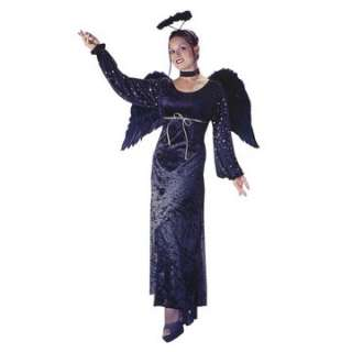 angel costume dress, black feather angel wings, angel halo and a