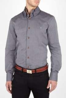Vivienne Westwood  Gunmetal Grey Cotton High Collar Shirt by Vivienne