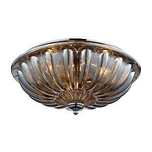 16 Crystal and Polished Chrome Flush Mount Light Fixture