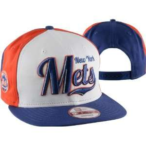 New York Mets New Era Script Wheel Snapback Adjustable Hat