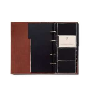 Elegance Leather 4 Ring Business Card Organizer Book Office Products