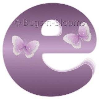 Purple Butterfly Alphabet Letter Name Wall Sticker   baby nursery
