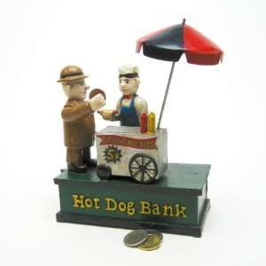 Antique Replica Hot Dog Collectors Die Cast Iron Mechanical Coin Bank
