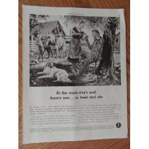 , Vintage 40s full page print ad. black and white Illustration (farm
