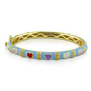 and red hearts Enamel Gold Plated Sterling Silver Baby Bangle Bracelet