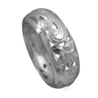 925 Silver Filigree Plumeria Band Ring Size 4 Jewelry