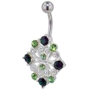 Green Crystal Filigree Flower Birthstones Belly Navel Ring