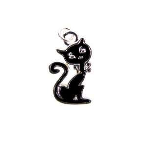 Silver Plated Sitting Black Cat Charm, Qty.1 Everything