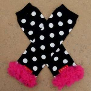 Chiffon Ruffle Leg Warmers   Black & White Polka Dot with Hot Pink