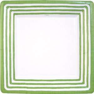 Caspari Stripe Border Paper Dinner Plates, 8 Count, Green