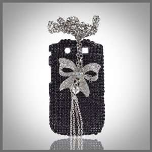 Xcellence by CellXpressionsTM Silver Bow on Black bling case
