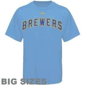 Majestic Milwaukee Brewers Light Blue Team Logo Big Sizes