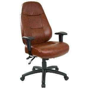 Professional High Back Brown Leather Chair with Adjustable
