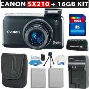 Digital Camera (Black) + 16GB SDHC Memory + Card Reader + Canon NB 5L