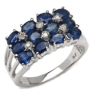 3.05 Carat Genuine Blue Sapphire & Diamond 10K White Gold