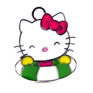 12X Cute Hello Kitty Charm Enamel Pendant Charm/HK in Green and White