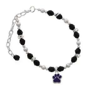 Small Purple Paw Black Czech Glass Beaded Charm Bracelet