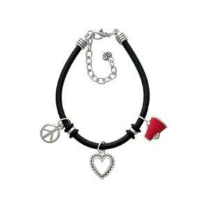 Small Red Megaphone Black Peace Love Charm Bracelet Arts