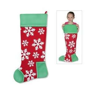 Giant 36 Inch Red and Green Snowflake Stocking