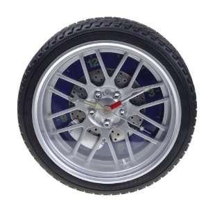 Novelty Black Racing Series Tire Wheel Wall Clock: Home & Kitchen