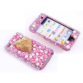 com Smile Case 3D Blue Flower Crystalized Rhinestone Bling Full Cover