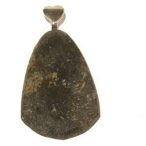 11 Green Slab Matte Silver Heart Stone Genuine Crystal 2.2 Jewelry