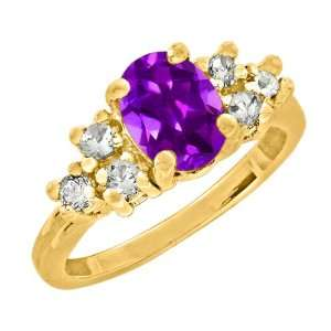 2.25 Ct 9X7mm Oval Cut Amethyst Yellow Gold Ring New Jewelry