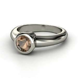 Spotlight Ring, Round Smoky Quartz Sterling Silver Ring Jewelry