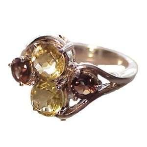 Silver Lemon Quartz & Smoky Quartz Ring   9.0 CaratGems Jewelry