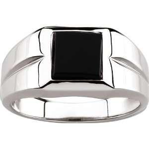 14 Karat White Gold Mens Onyx Ring Gents Diamond Designs