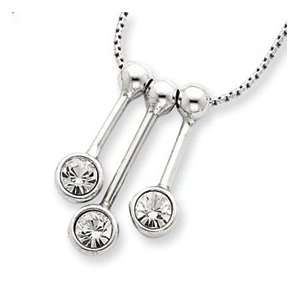 Sterling Silver 3 CZ Dangle Charms & 16in Chain Jewelry