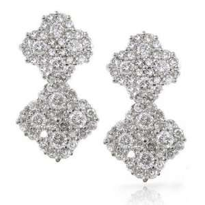 14K White Gold Diamond Cluster Earrings Jewelry