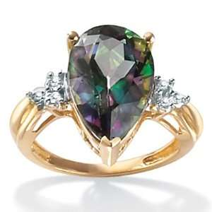 10k Gold Pear Shaped Mystic Topaz and Diamond Accent Ring Jewelry