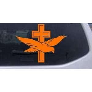 Orange 12in X 9.0in    Dove With Cross Christian Car Window Wall