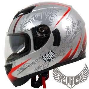 PGR Dual Visor Full Face Motorcycle Helmet DOT Approved (Small, Silver