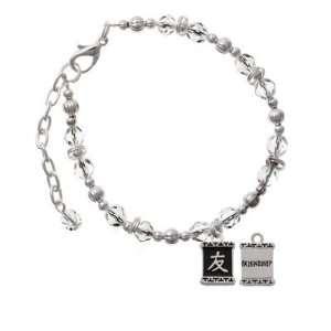 Character Symbols   Friendship Clear Czech Glass Beaded Charm Bracelet