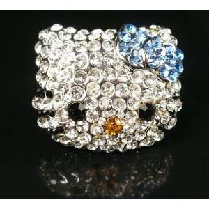 Hello Kitty HUGE Crystal BLING ring w/Blue bow w/Kitty Gift Box by