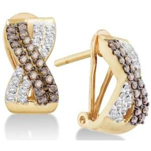 14K Yellow Gold Channel Set Round White and Chocolate Brown Diamond