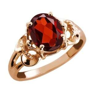 00 Ct Oval Red Garnet Rose Gold Plated Argentium Silver Ring Jewelry