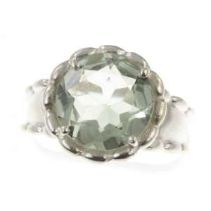 Silver NATURAL GREEN AMETHYST Ring, Size 8.25, 6.933g Jewelry