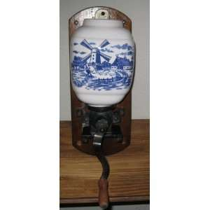 Vintage Blue White Holland Windmill Coffee Grinder Everything Else