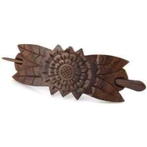 Hand Carved Sono Wood Hair Pin Barrette   Zodiac Sun Fleur