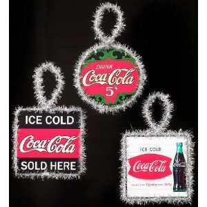 Coca Cola Sign Christmas Ornaments (set of 3) Sports